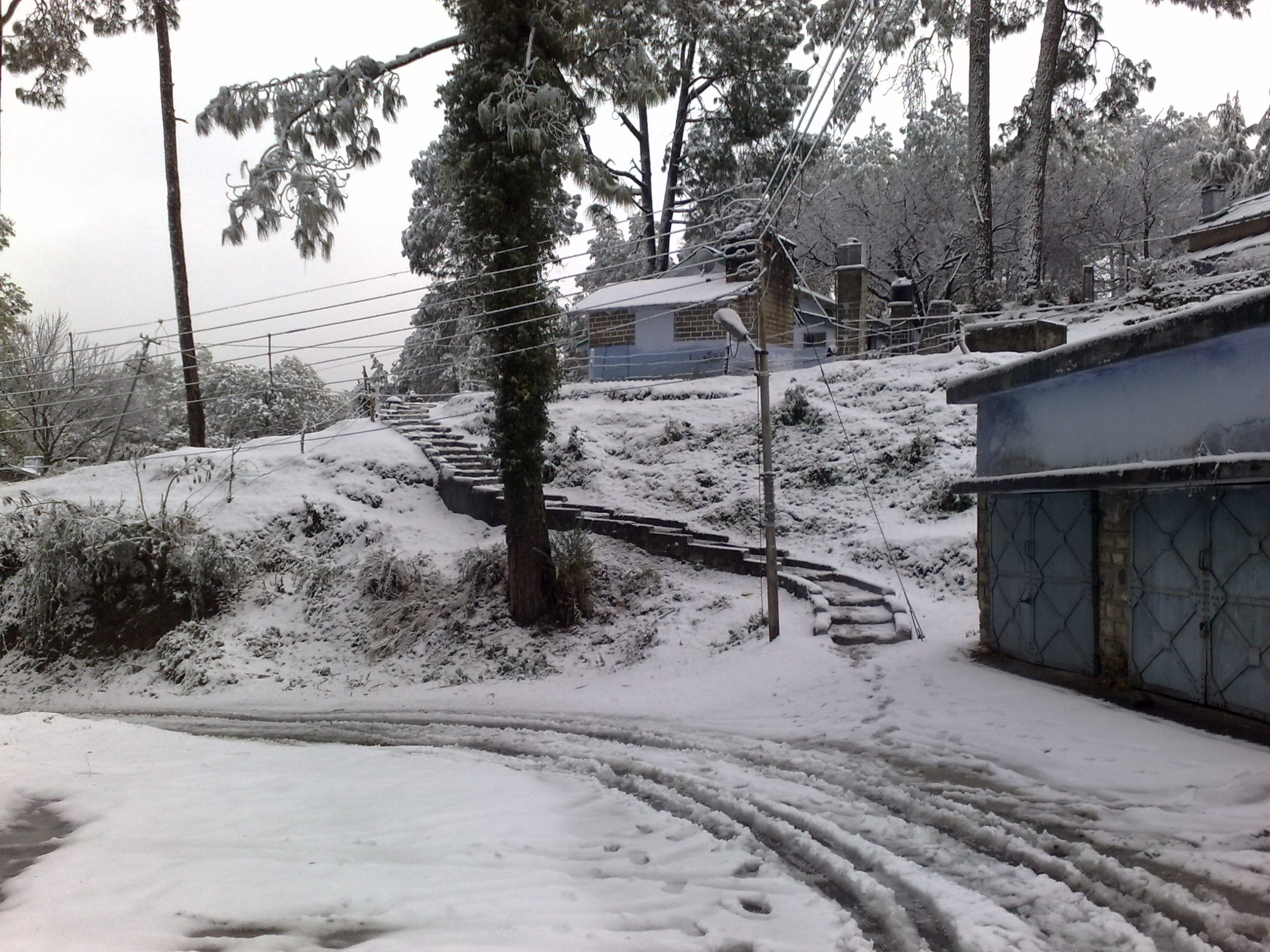 Ranikhet after a mild snowfall in winters