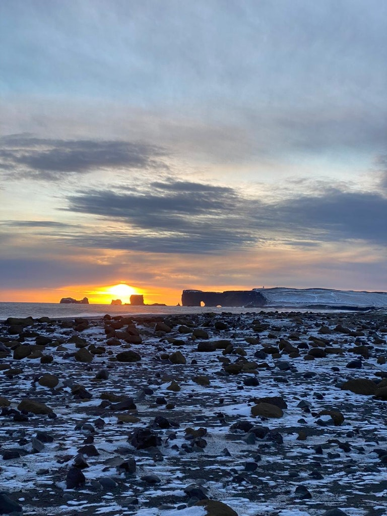 Sunrise at the black sand beaches Vik in Iceland with my loved one
