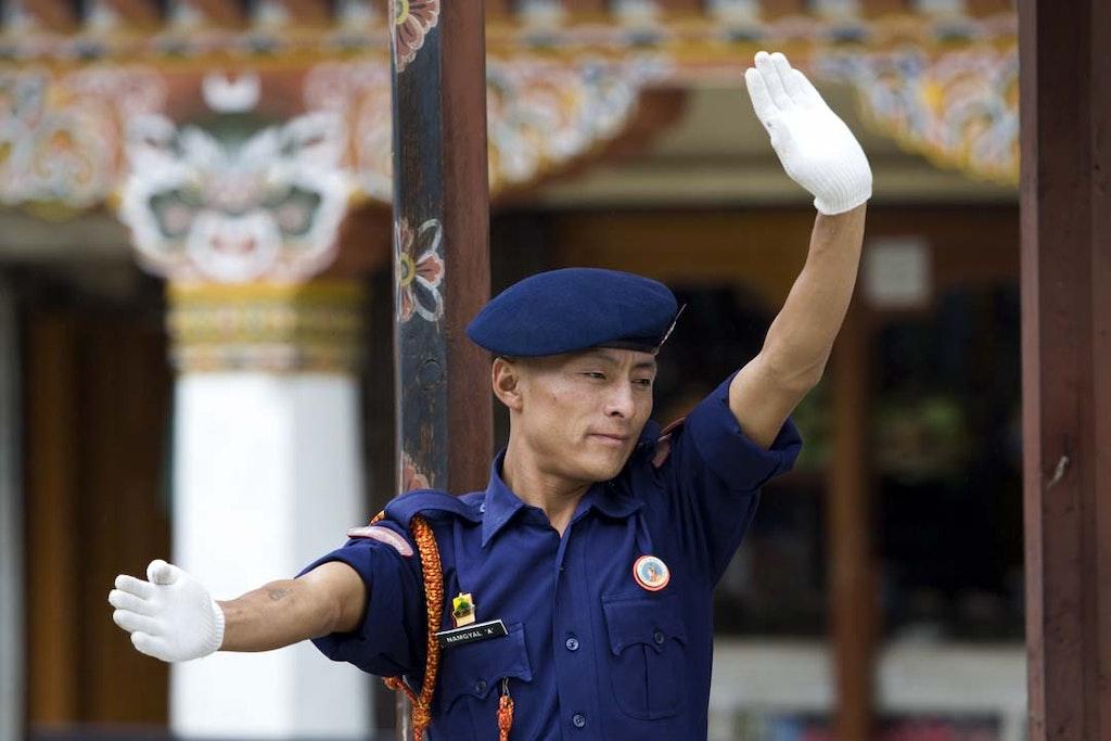 Traffic cop in Thimpu