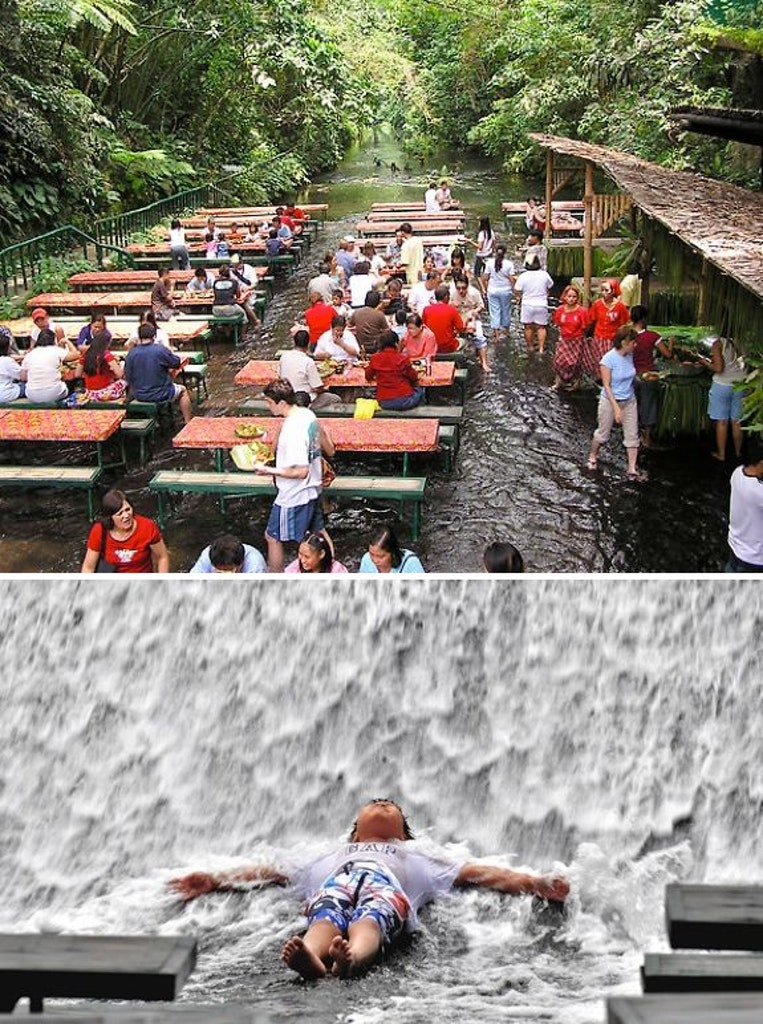 Waterfall restaurant in the Philippines
