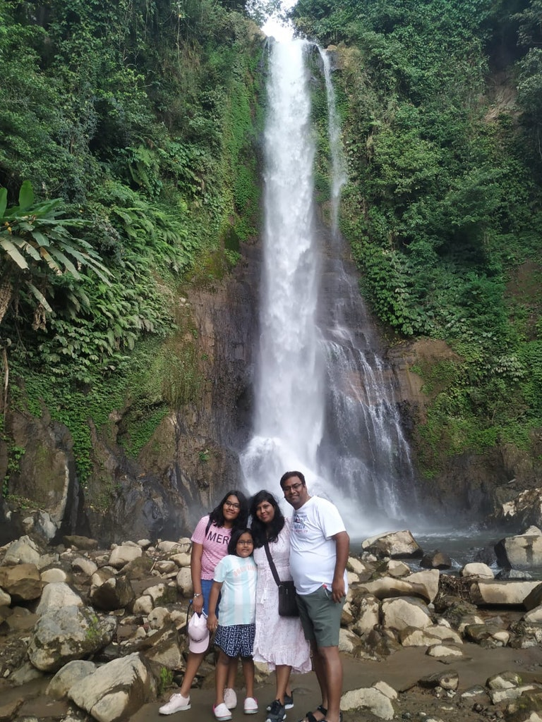 At the waterfalls with family