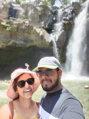 A PICTURE WITH MY WIFE AT THE WATERFALL