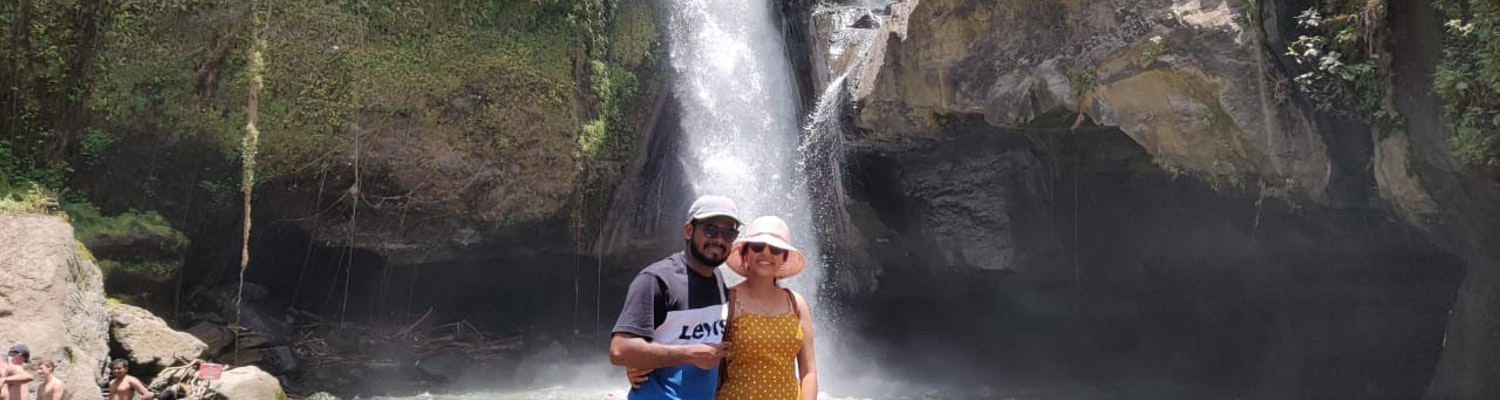 a picture with my wife at waterfall