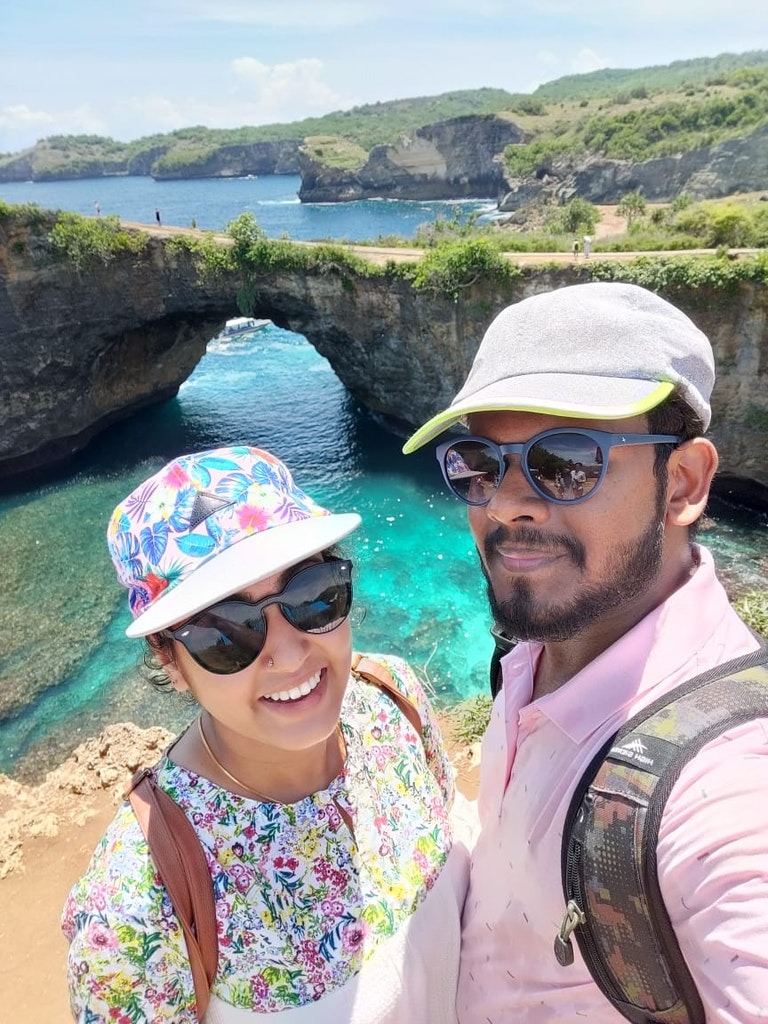 with my wife at west nusa penida