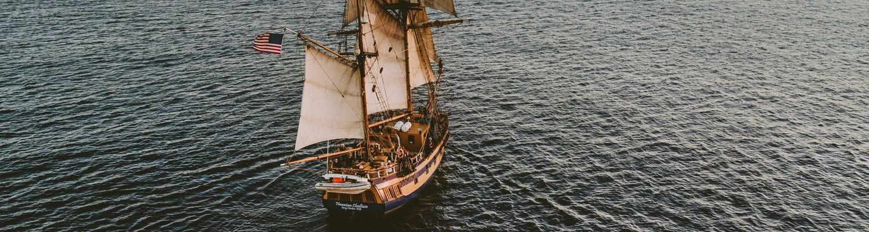 A ship sailing on the ocean