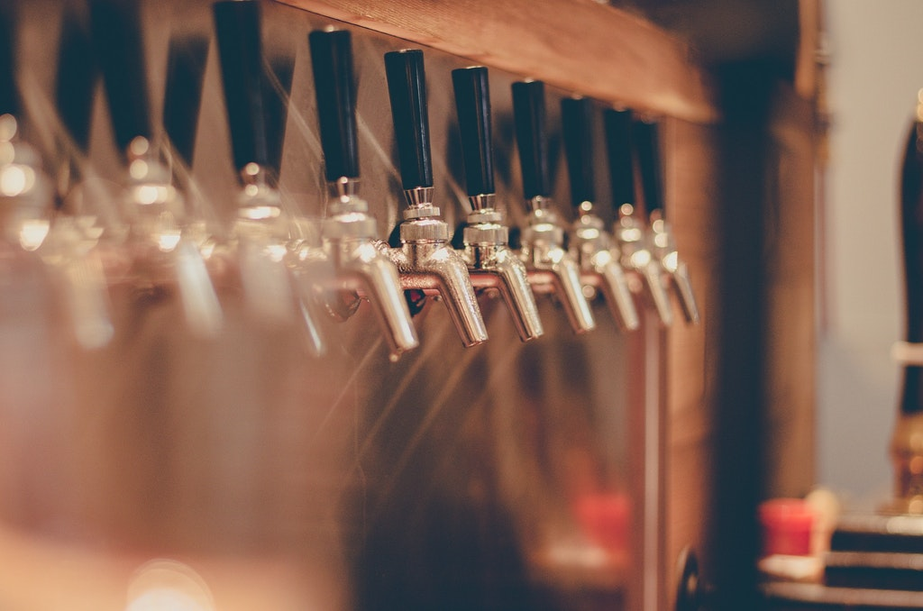 Beer taps in a Pub (Clubbing in Seychelles)