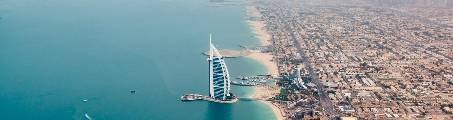 An aerial view of Dubai along with the sea