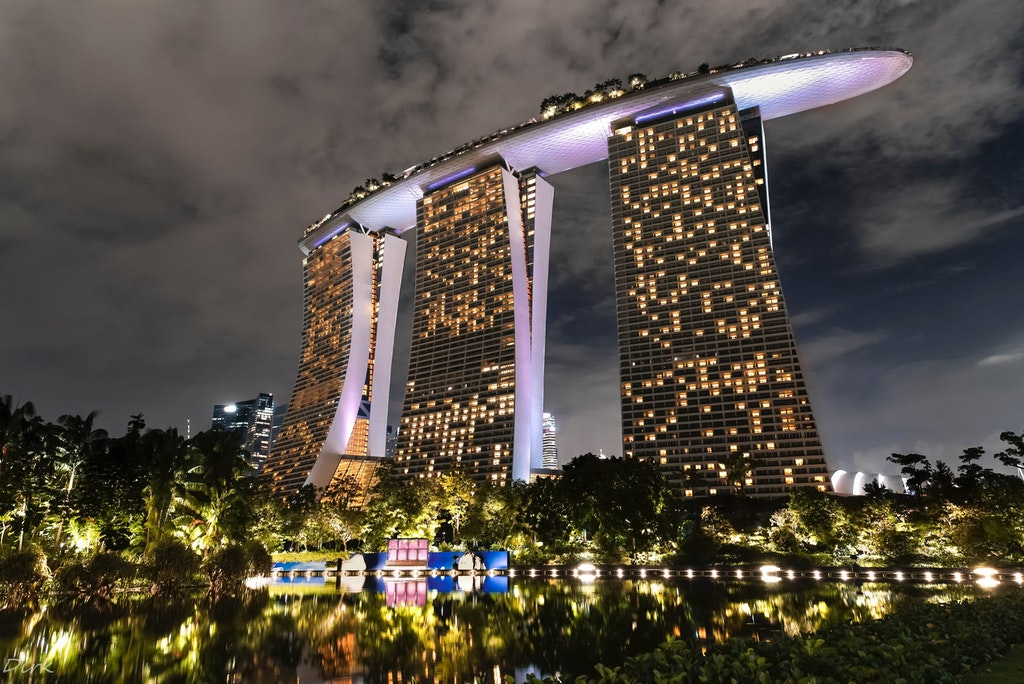 Marina Bay sands hotel, one of the best hotels in Singapore, at night time