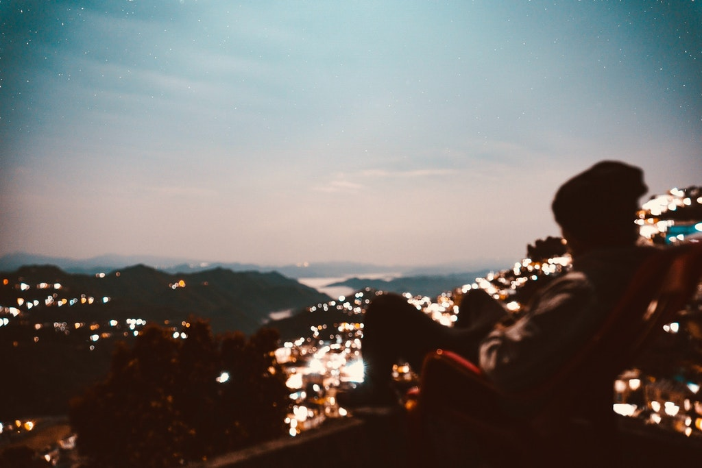 Night time in Aizawl, hill station in North east India