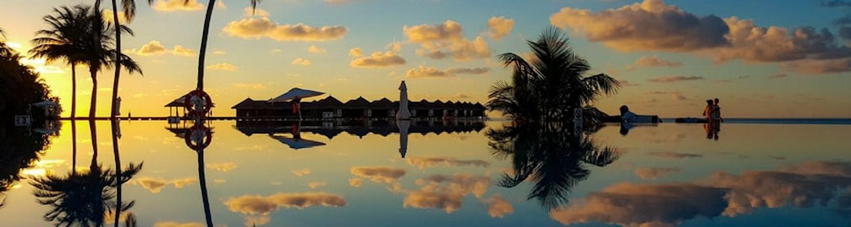 Evening sunset view of Maldives
