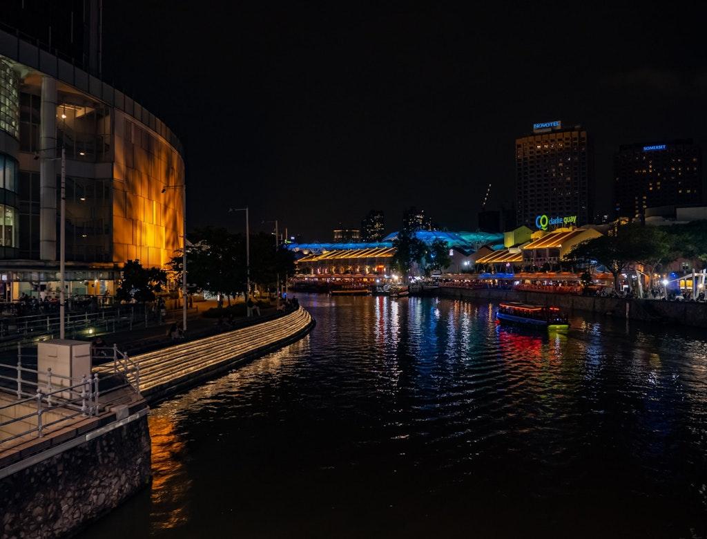 Lit up Clarke Quay during night