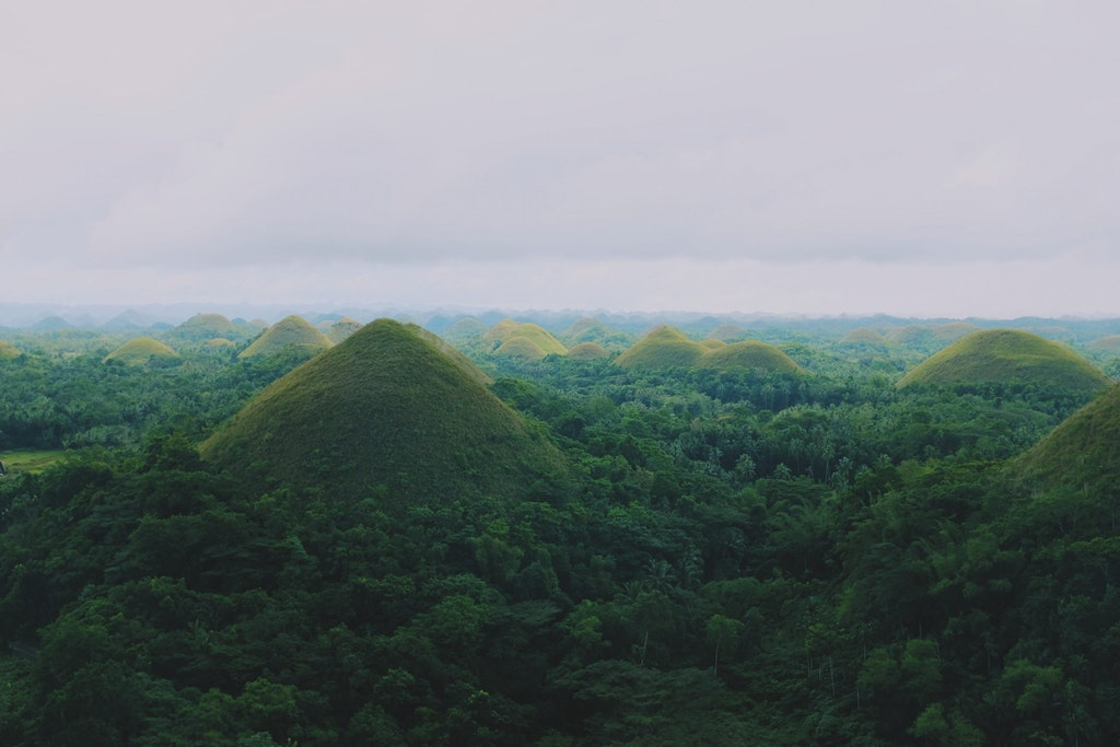 An aesthetic view of Chocolate Hills in the Phillipines