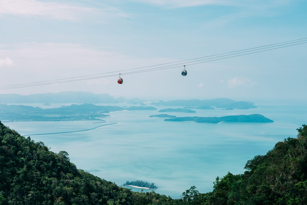 A view of cable car ride from the sky bridge, Langkawi