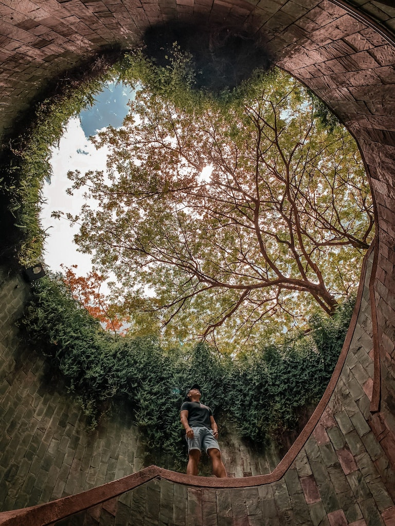 A man in the Fort Canning Park in Singapore