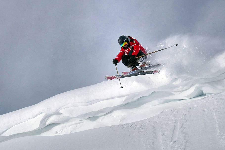 skiing on the snow