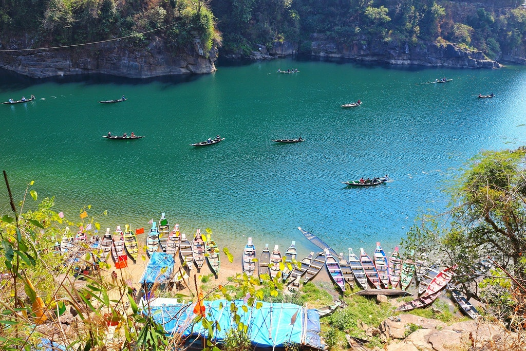 View of the clean Dawki Lake one of the top places to visit near Shillong.