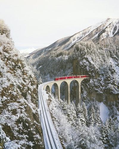 Scenic train ride in Switzerland