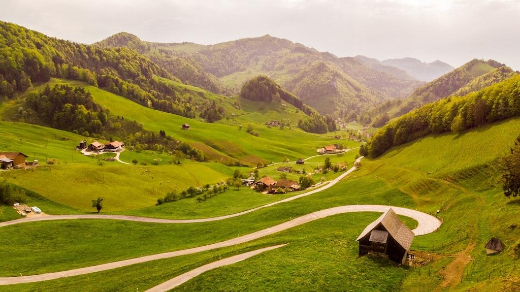 Aerial view of Swiss Village