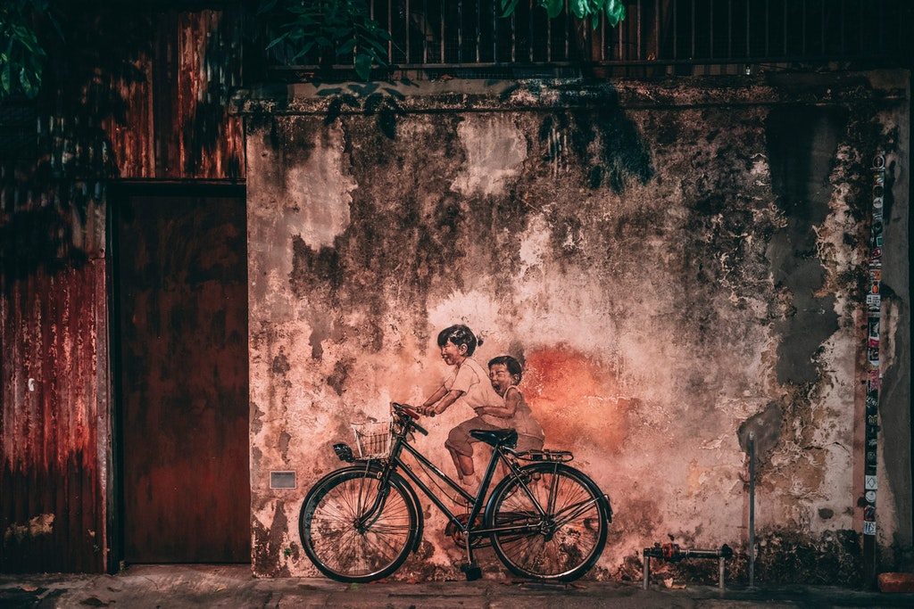 """A well-known mural of """"Children on a bicycle"""", Penang,"""