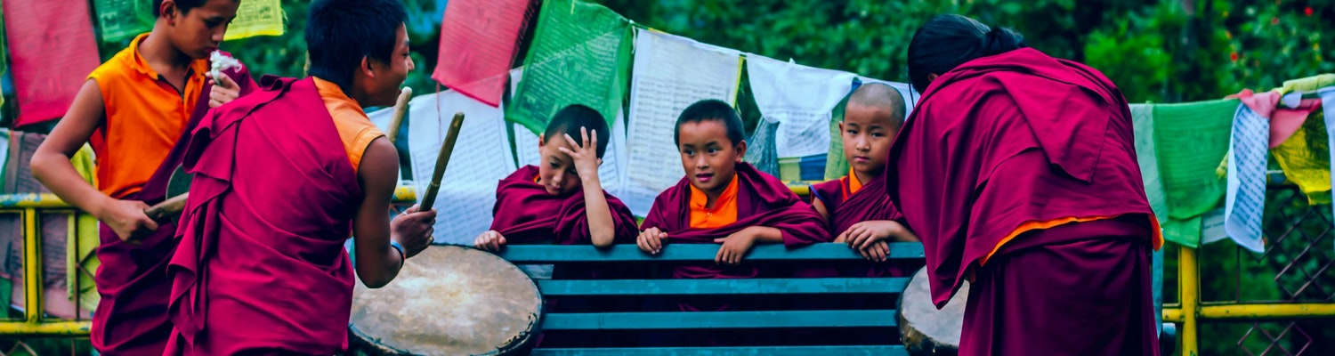A group of little kids in Sikkim, India