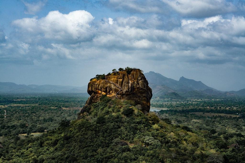The remains of the rock fortress in Sigiriya in Sri Lanka