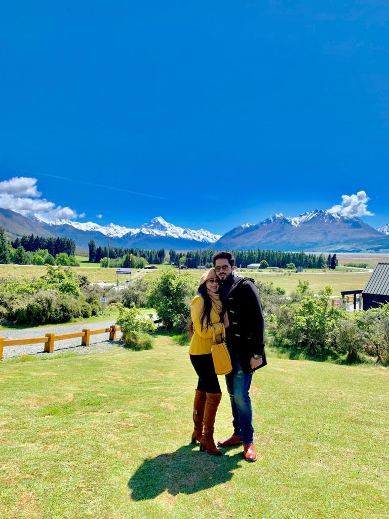 A couple in New Zealand during their honeymoon