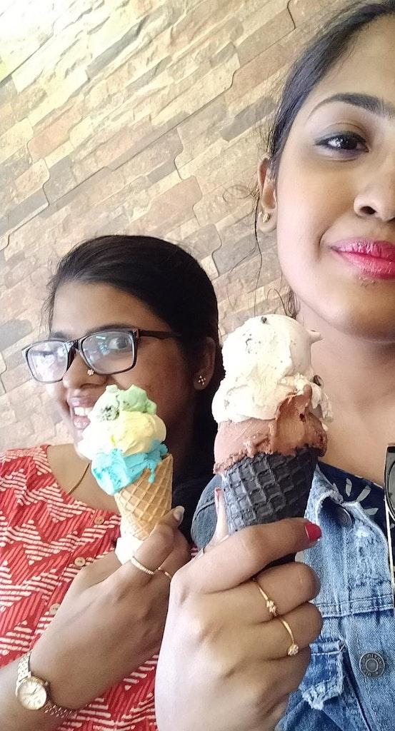 enjoying gelato with my sister