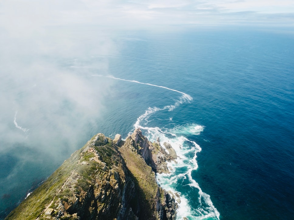 aerial view of cape of good hope, the cape point