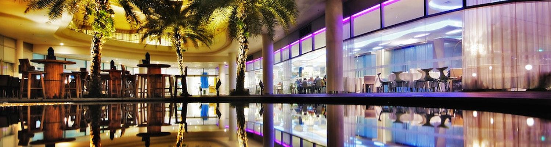 vivo city mall illuminated in the night