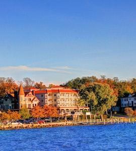 a beautiful view of the shore around lake geneva