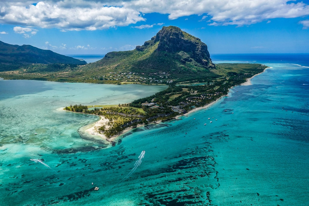 Aerial view of Mauritius, home to many Bollywood shootings