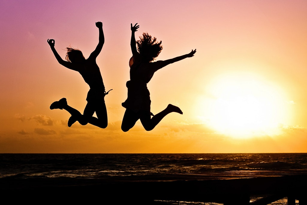 Sunset view jumping youth