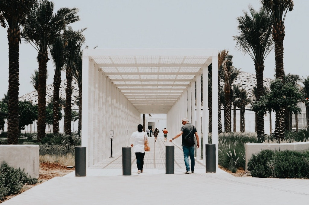 A picture of people at Louvre Museum in Abu Dhabi
