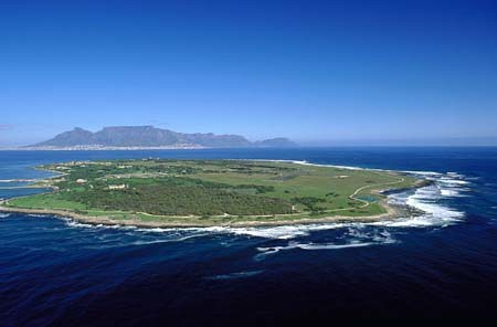 Aerial of Robben Island and Table Mountain in South Africa
