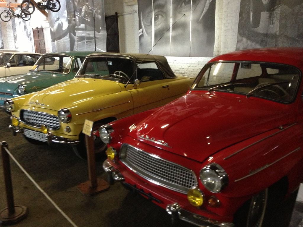 A picture of the cars collection in Bratislava Transport Museum