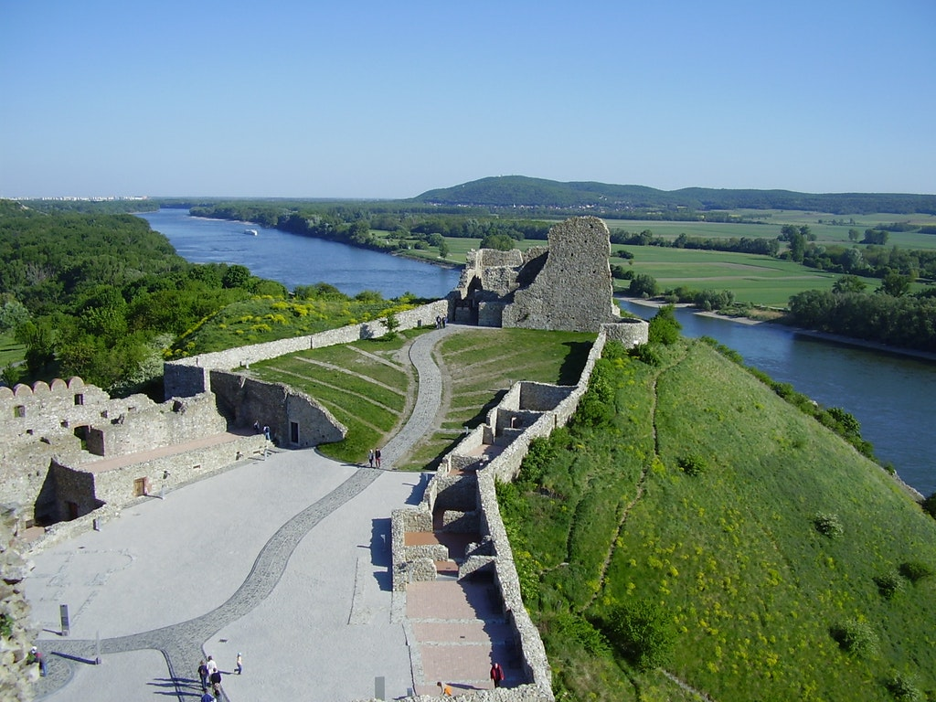 A picture of the Devin castle and two rivers' confluence