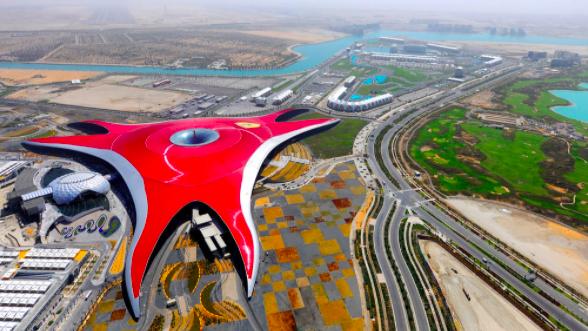 Top view of Ferrari world and Yas Marina circuit
