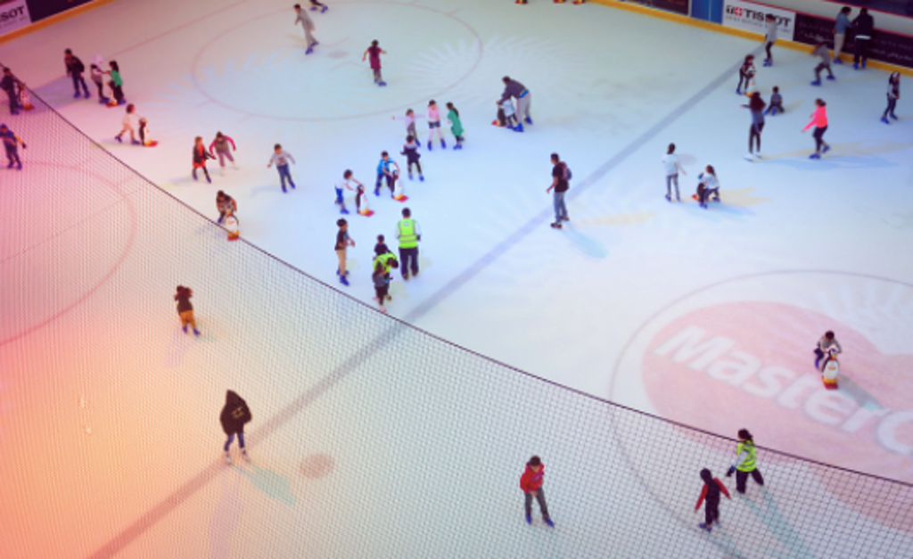 Visitors are skating in Ice Rink