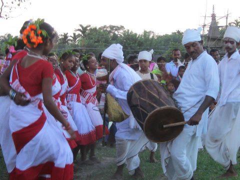 Tea tribe dance in the tea festival of Assam