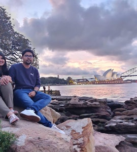 In front of the Sydney opera house on our Honeymoon to Australia