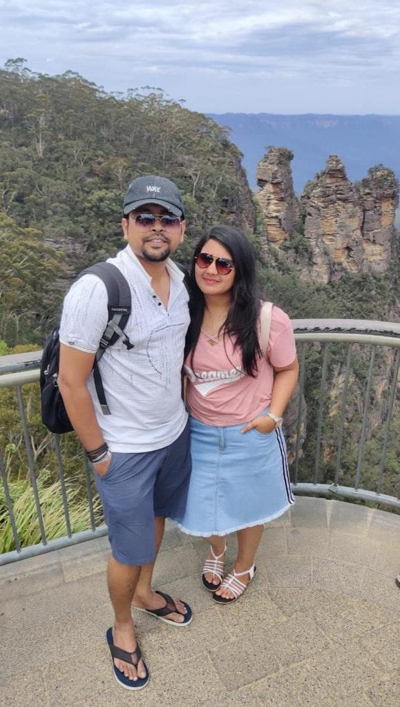 Enjoying the Blue Mountains tour on our Honeymoon to Australia
