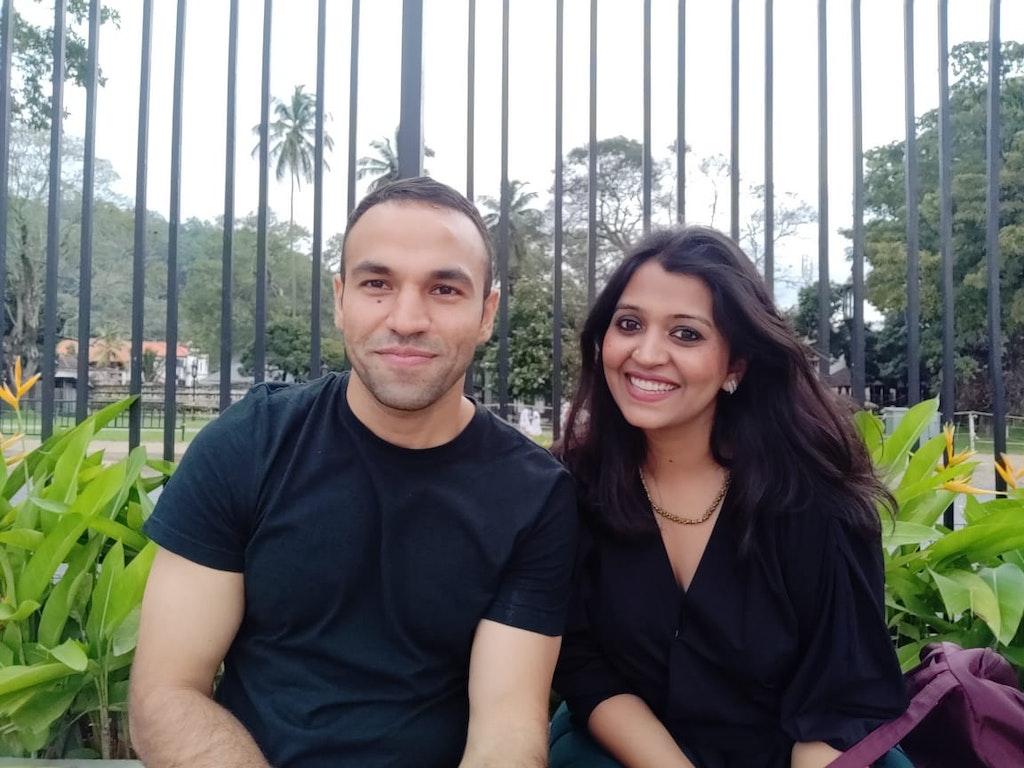 With my husband at the park in Sri Lanka