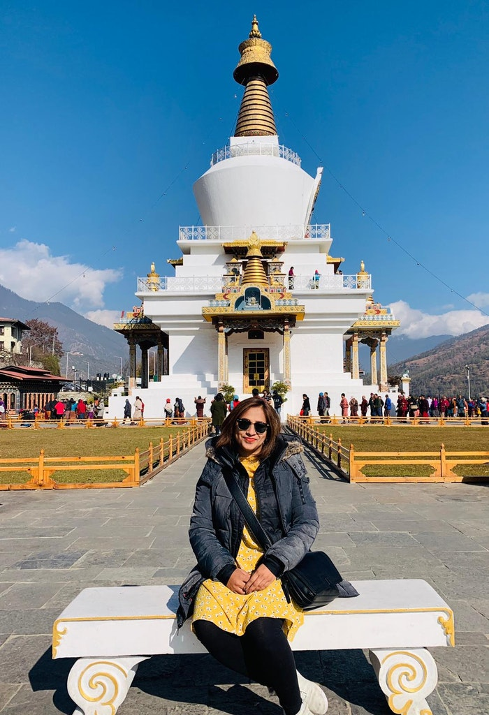 Outside the beautiful temple of Bhutan