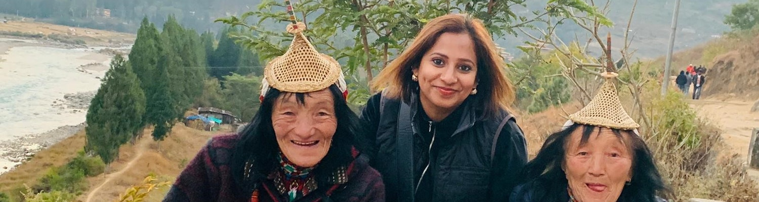 With the local women of Bhutan