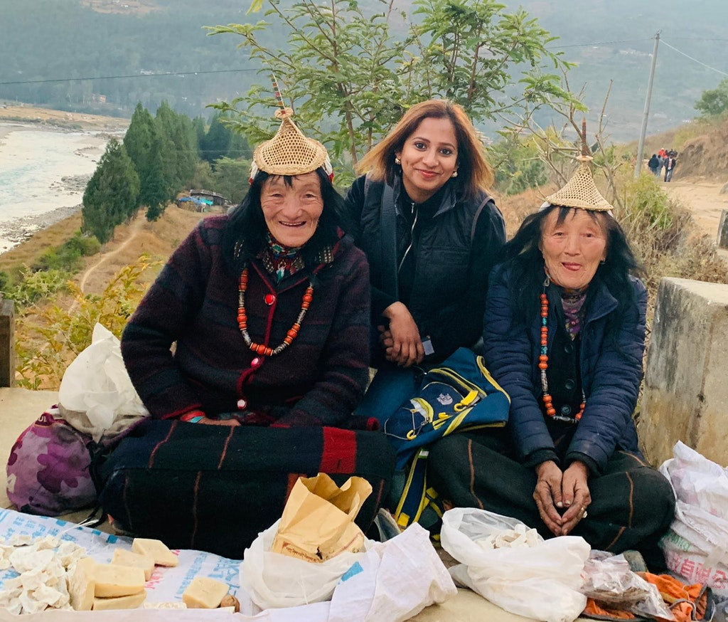 With the ladies during my solo trip to Bhutan