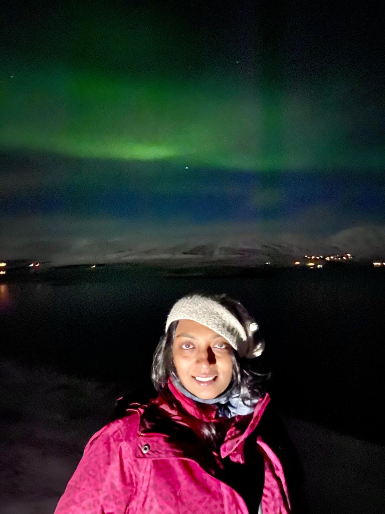 A picture of a lady standing with Northern lights as a backdrop