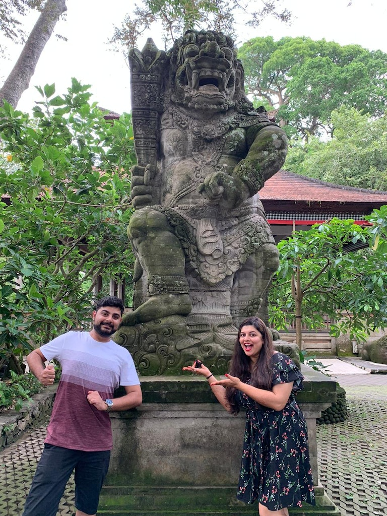 A couple posing in one of the temples in Bali