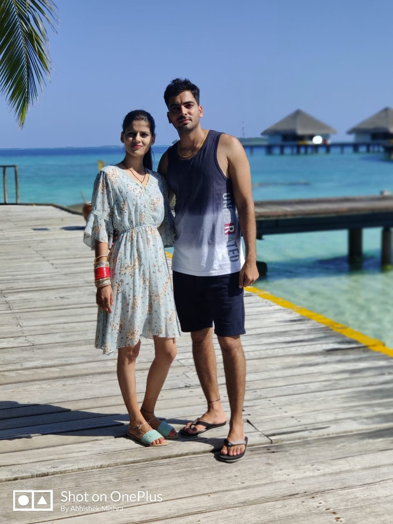 At the beach during our Maldives honeymoon