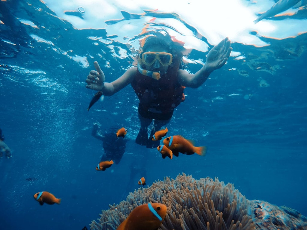 during snorkelling in Maldives