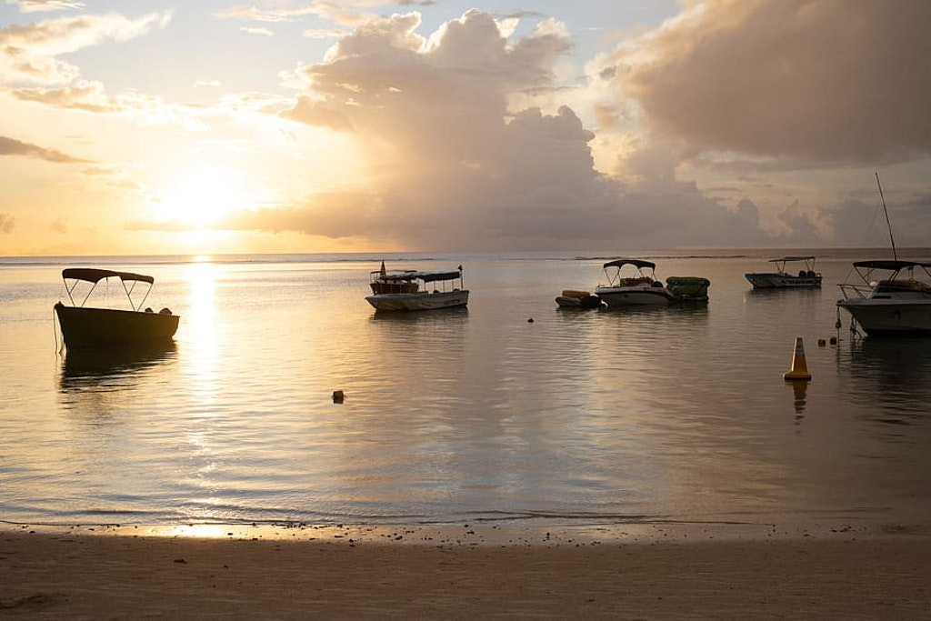 A picture of sunrise at a beach in Grand Baie